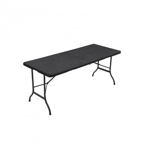 1.8M Folding Table Large Garden Table with Plastic Wood Grain Surface GPT05BK