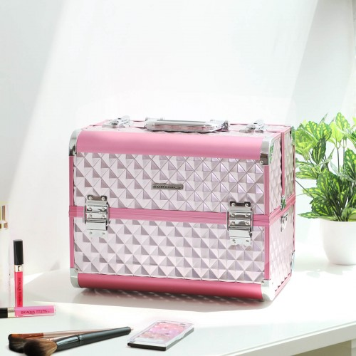 Silver Pink Cosmetic Case