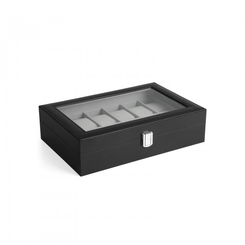Black 12-Slot Watch Box