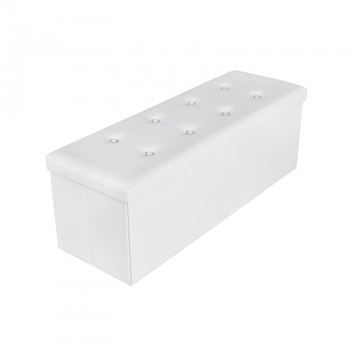 Large Storage White Ottoman