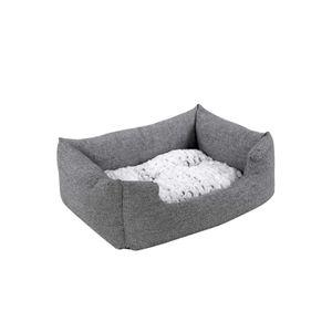 Grey Plush Dog Bed