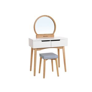 Round Mirror Vanity Table
