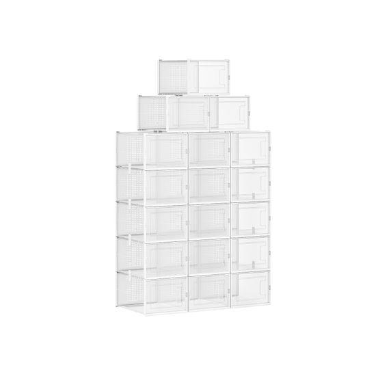 Pack of 18 Transparent Plastic Shoe Boxes